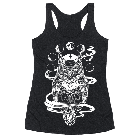 Witch's Owl Under the Phases of the Moon Racerback Tank Top
