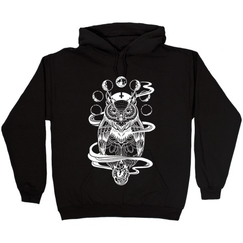 Witch's Owl Under the Phases of the Moon Hooded Sweatshirt