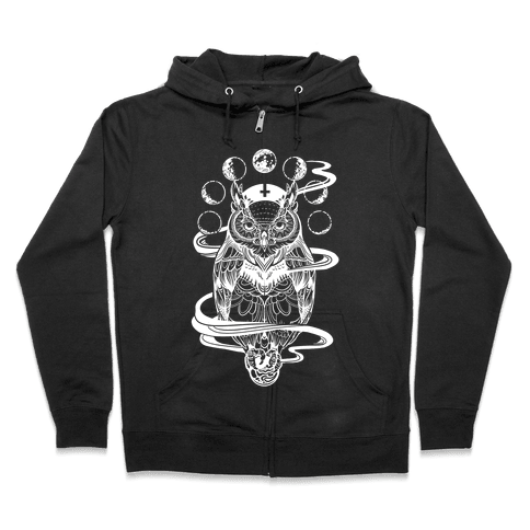 Witch's Owl Under the Phases of the Moon Zip Hoodie
