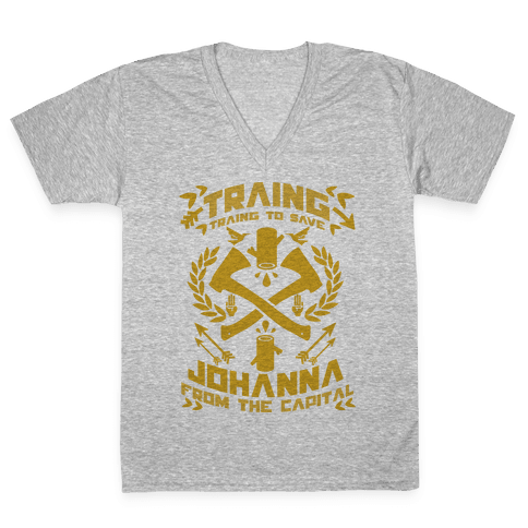 Training to Save Johanna V-Neck Tee Shirt