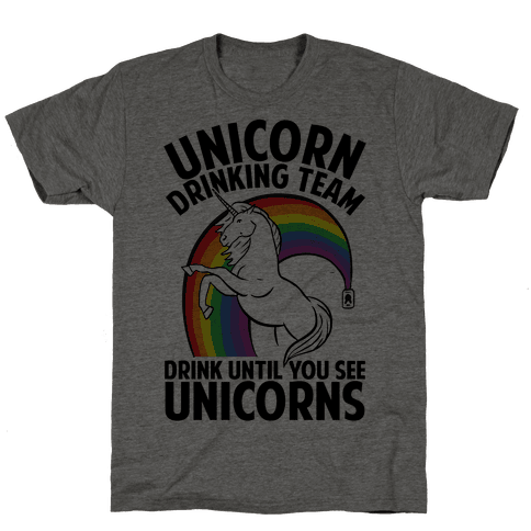 Unicorn Drinking Team Mens T-Shirt