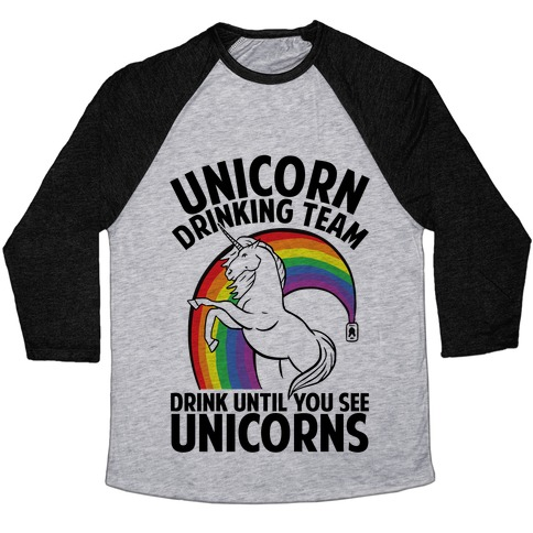 Unicorn Drinking Team Baseball Tee