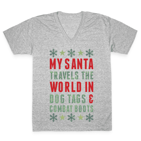 My Military Santa V-Neck Tee Shirt