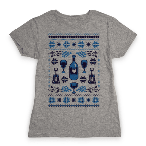 Ugly Wine Christmas Sweater Womens T-Shirt