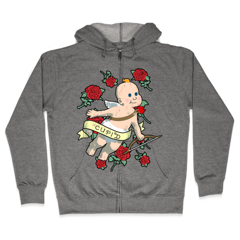 Cupid and the Roses Zip Hoodie