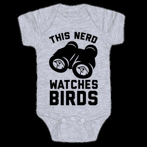 This Nerd Watches Birds Baby Onesy