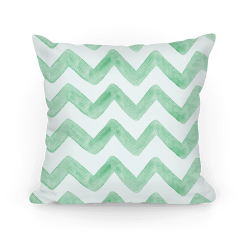 Green Watercolor Chevron Pattern Pillow