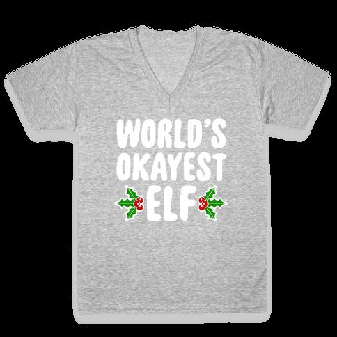 World's Okayest Elf V-Neck Tee Shirt