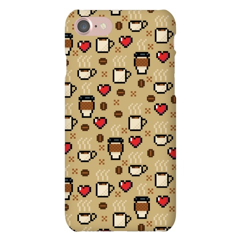 Coffee Pixel Art Pattern Phone Case