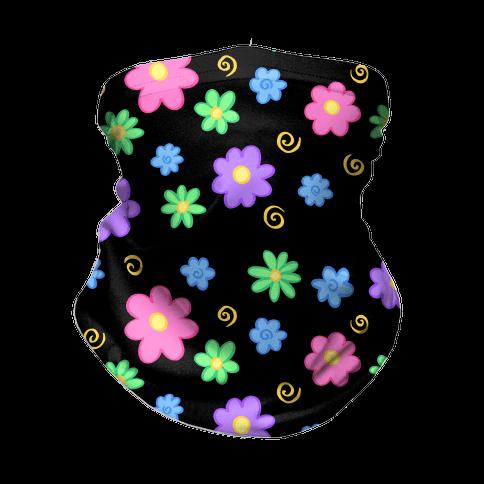 Doodle Flowers Black Neck Gaiter