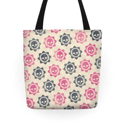 Skull and Lotus Floral Pattern Tote