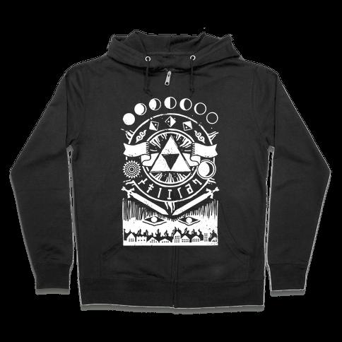Hyrule Occult Symbols Zip Hoodie
