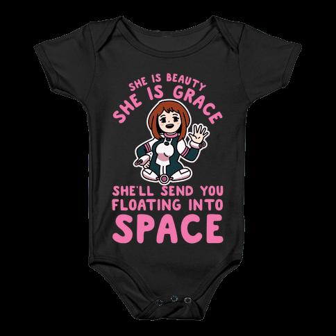 She is Beauty She is Grace, She'll Send You Floating into Space Uraraka Baby Onesy