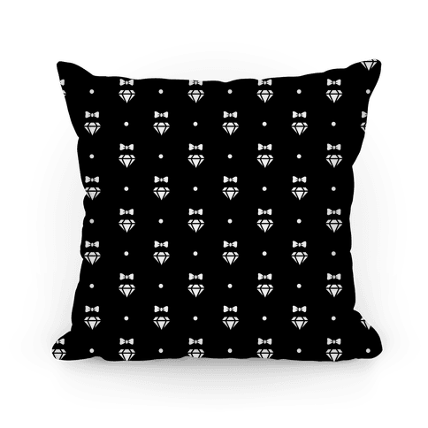 Black and White Bows and Diamonds Pattern Pillow