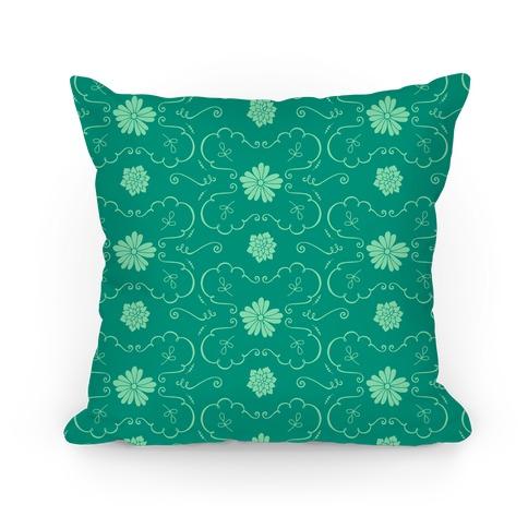 Green Floral Wallpaper Pattern Pillow