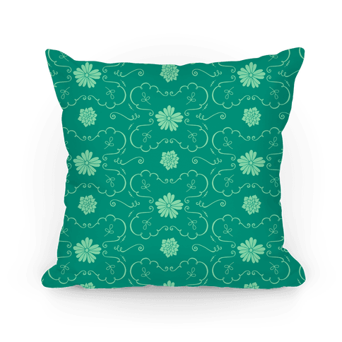 Green Floral Wallpaper Pattern Pillow