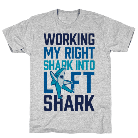 Working My Right Shark Into Left Shark Mens T-Shirt