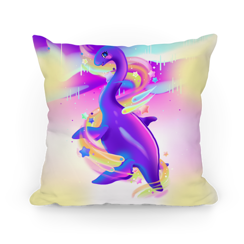 Neon Rainbow Loch Ness Pillow