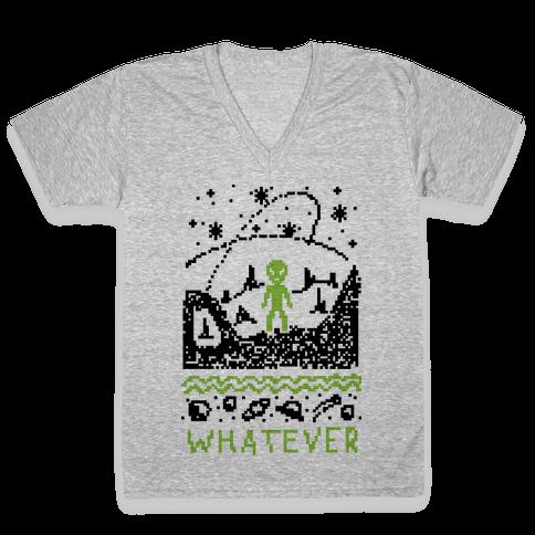 Whatever Alien Ugly Christmas Sweater V-Neck Tee Shirt