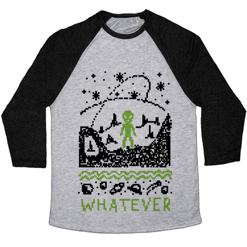 Whatever Alien Ugly Christmas Sweater Baseball Tee