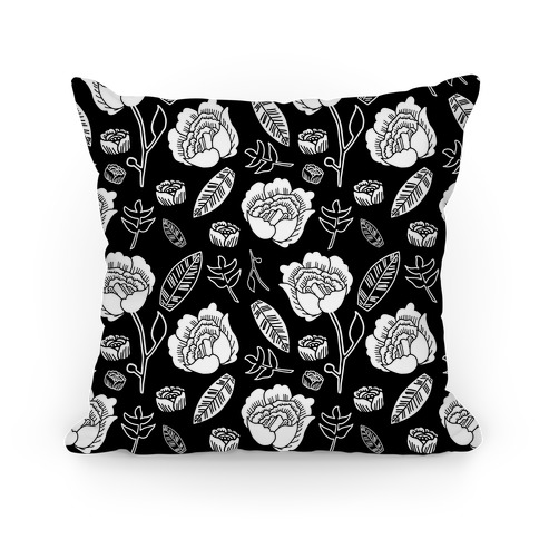 Floral and Leaves Pattern (Black) Pillow
