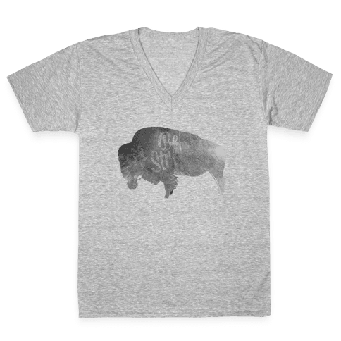 Be Strong, Little Buffalo V-Neck Tee Shirt