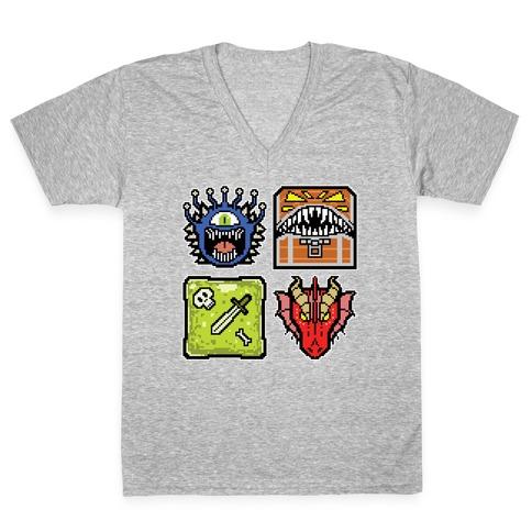 Pixel DnD Monsters V-Neck Tee Shirt