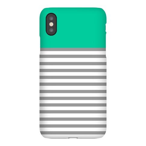 Green Color Block Stripe Pattern Phone Case