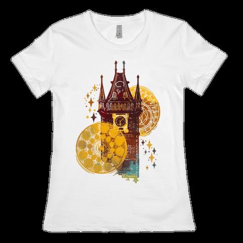 Prague Astronomical Clock Womens T-Shirt