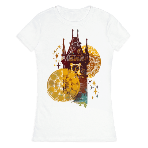 Prague Astronomical Clock Womens T-Shirt