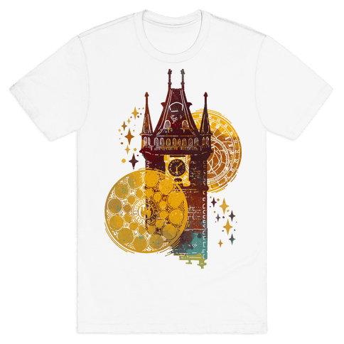 Prague Astronomical Clock Mens T-Shirt