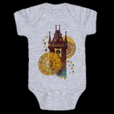 Prague Astronomical Clock Baby Onesy