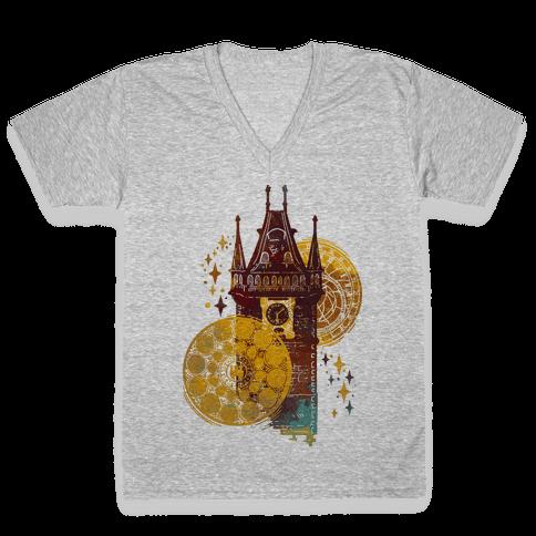 Prague Astronomical Clock V-Neck Tee Shirt