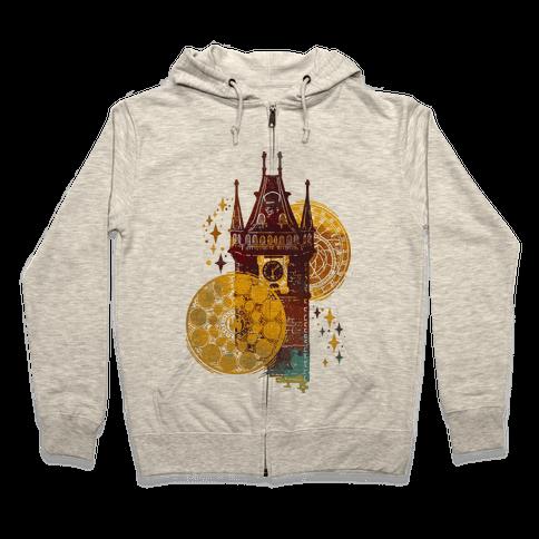 Prague Astronomical Clock Zip Hoodie