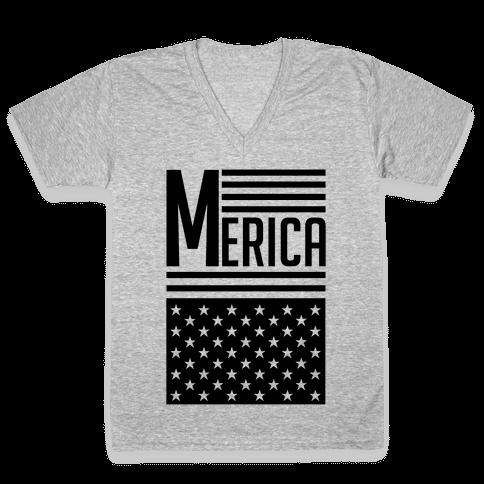 Merican Flag V-Neck Tee Shirt