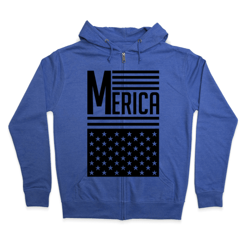 Merican Flag Zip Hoodie