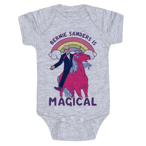 Bernie Sanders on a Magical Unicorn Baby Onesy