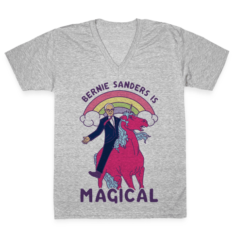 Bernie Sanders on a Magical Unicorn V-Neck Tee Shirt