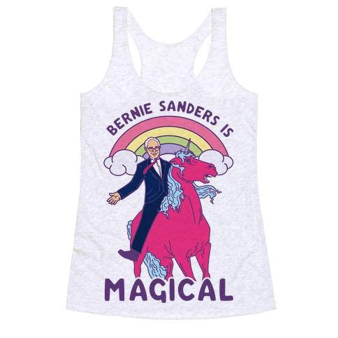 Bernie Sanders on a Magical Unicorn Racerback Tank Top