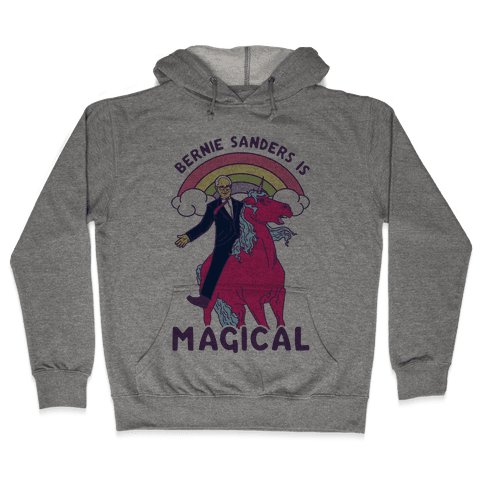 Bernie Sanders on a Magical Unicorn Hooded Sweatshirt