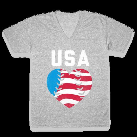 USA Baseball Love (Tank) V-Neck Tee Shirt