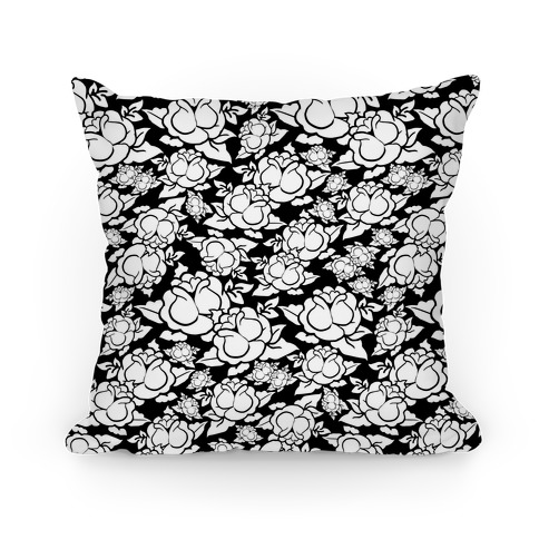 Black and White Rose Pattern Pillow