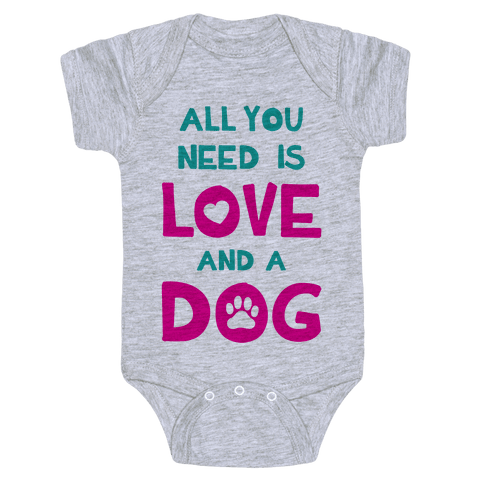 Love And A Dog Baby Onesy