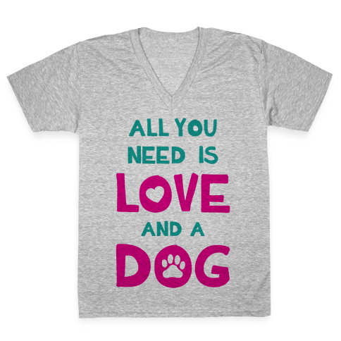 Love And A Dog V-Neck Tee Shirt