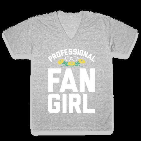 Professional Fangirl V-Neck Tee Shirt