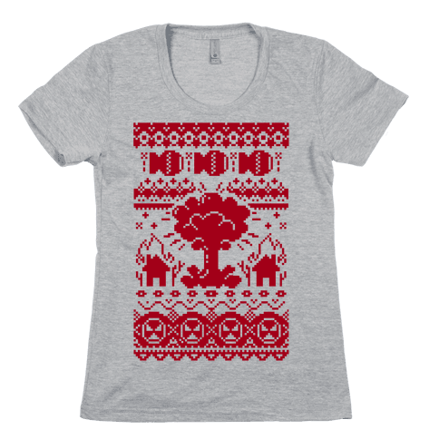 Nuclear Christmas Sweater Pattern Womens T-Shirt