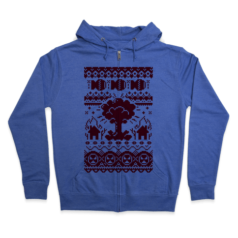 Nuclear Christmas Sweater Pattern Zip Hoodie