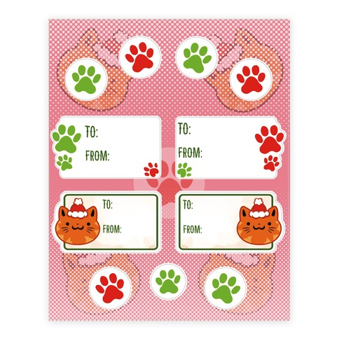 Kitty Cat Christmas Tags Sticker and Decal Sheet
