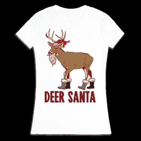 Deer Santa Womens T-Shirt