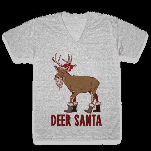Deer Santa V-Neck Tee Shirt